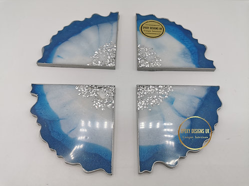 Resin coaster set of 4 Blue White Silver