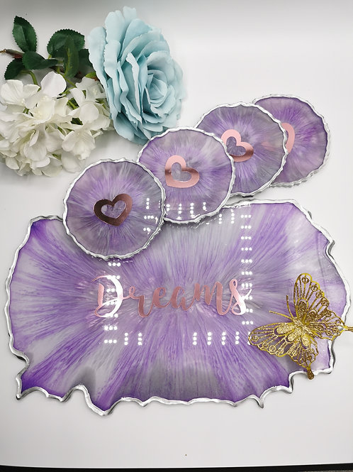Purple and white Tray and Coaster set