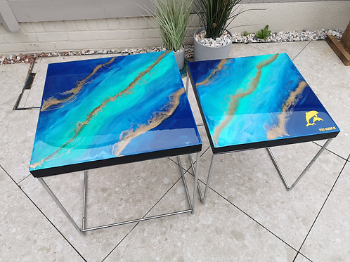 Resin coated set of 2 coffee tables