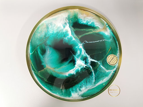Resin tray green, white, gold