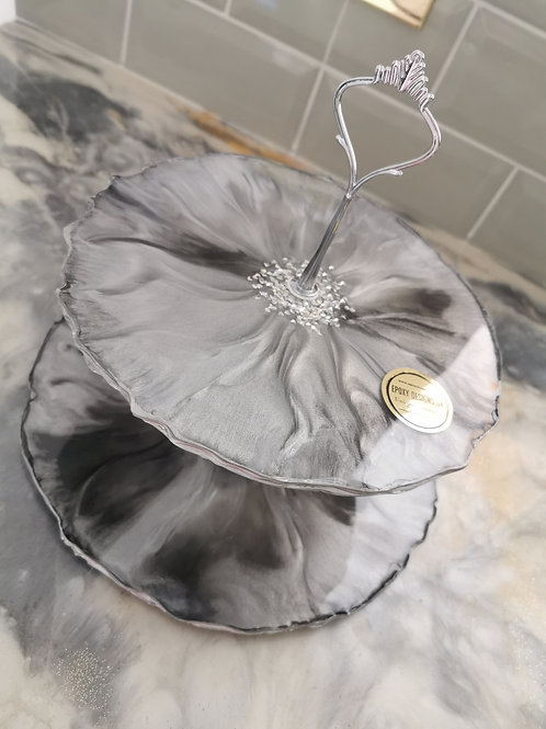 Resin Cake Stand silver grey