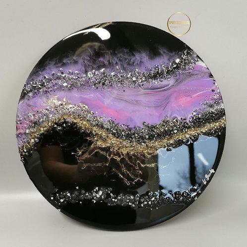 Round 30cm wallart purple / pink / gold