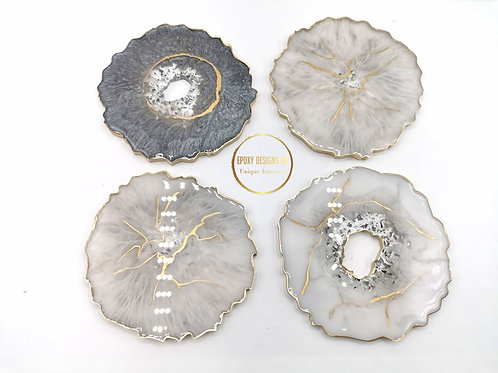 Grey, white and gold coaster set of 4