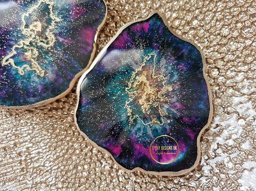 Resin coaster set of 2 turquoise pink gold
