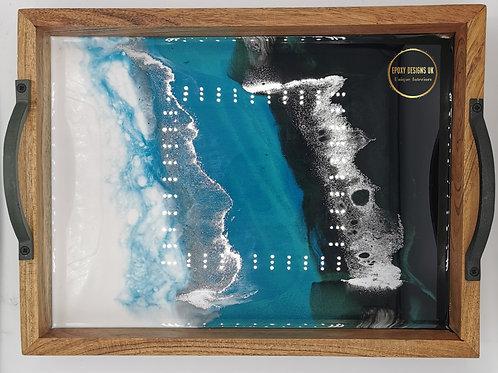 Rustic wood tray blue silver