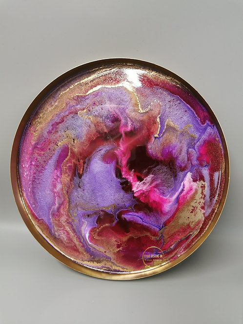 Resin tray purple pink, white, gold