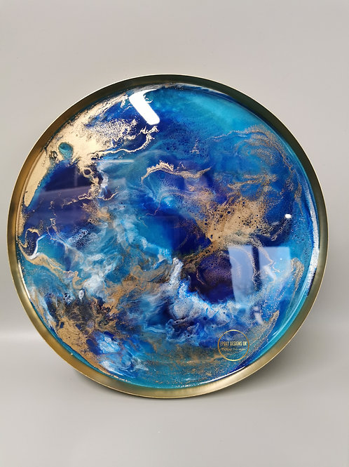 Resin tray blue, white, gold