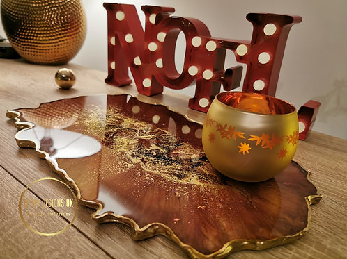 Resin Tray Gold Red