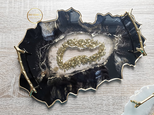 Resin tray / centrepiece black and gold