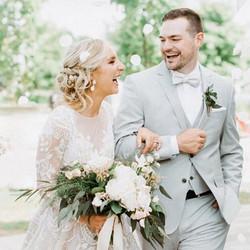 bridal hair, bride and groom
