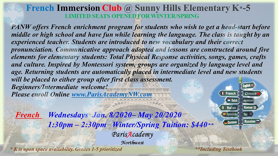 Sunny Hill French WINTER-SPRING WED PM 2