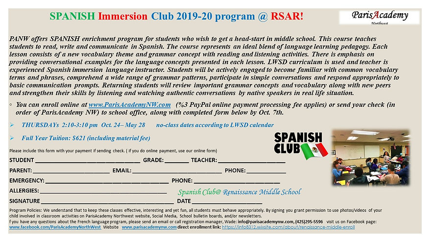 Renaissance Spanish club Full year 19-20