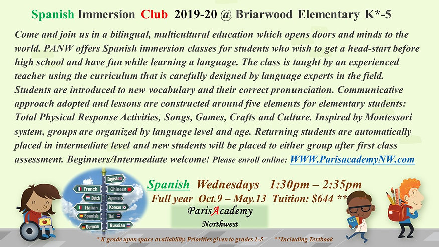 Briarwood Elementary Spanish Wed-PM 19-2