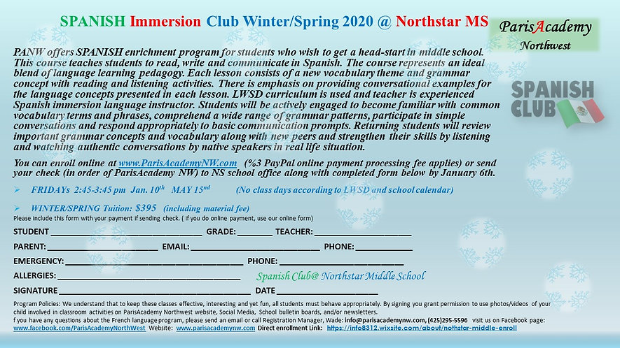 Northstar Spanish Club WINTER-SPRING-202