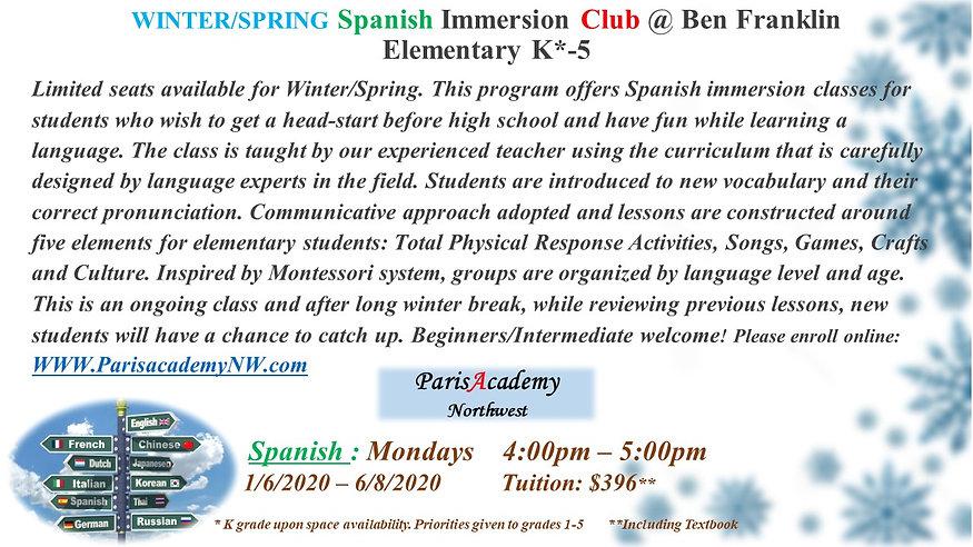 Ben Franklin Winter-Spring Spanish Mon-P