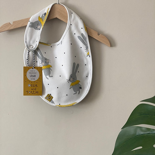 Tottie White and Spot Reversable Bib