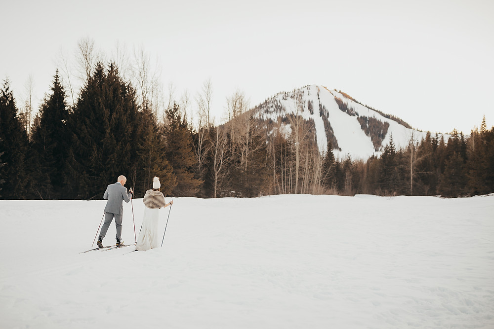 Winter Wedding at Red Mountain Ski Hill in Rossland BC - Bride and Groom Skiing