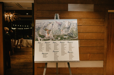 Red Resort Apre Ski Seating Chart at Winter Wedding at The Josie Hotel in Rossland BC