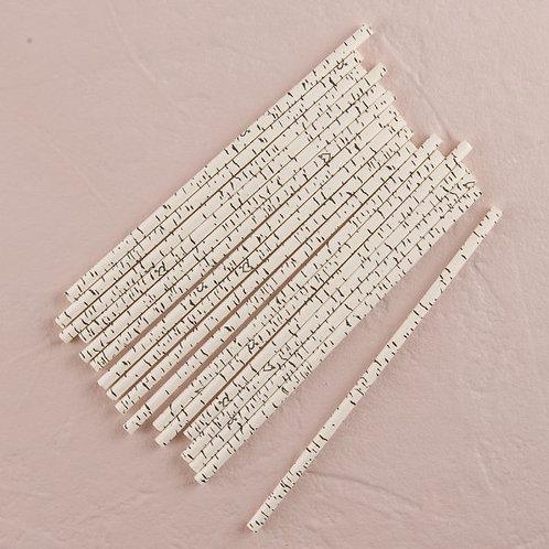 Birch Theme Biodegradable Straws - 25 Pack