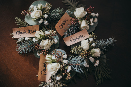 Grooms Party Boutonneires made by Olea Floral in Rossland BC