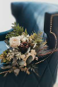 Bridal Bouquet on Velvet Chair at The Josie Hotel in Rossland BC