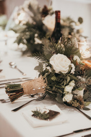 Winter Wedding Bridal Bouquet on Headtable Rossland BC