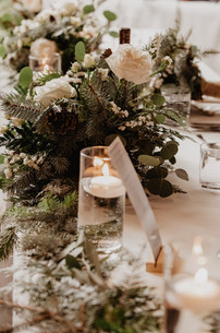 Table Decor for Winter Wedding at The Josie Hotel in Rossland BC