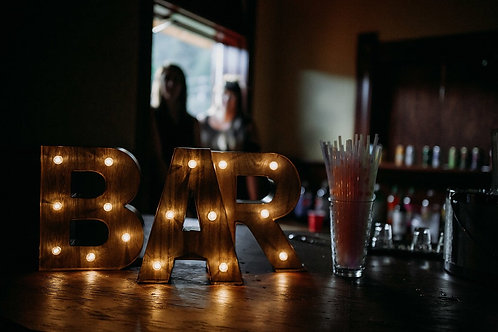 B A R  3 Piece Lightup Sign - Rustic