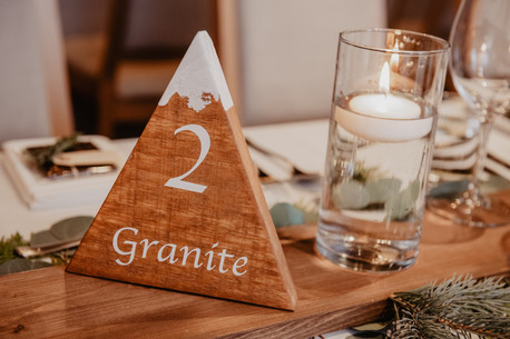 Red Mountain Resort Table Numbers for Winter Apre Ski Wedding at The Josie Hotel in Rossland BC