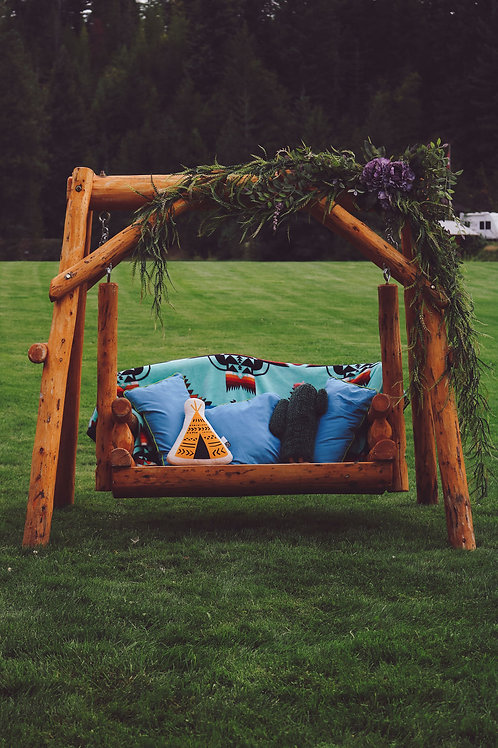 Wooden Love Seat Swing and Stand