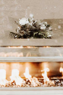 Fireplace View on Wedding Day at The Josie Hotel in Rossland BC