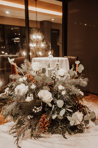 Apre Ski Wedding Floral Table Piece on Guestbook Table - Rossland BC