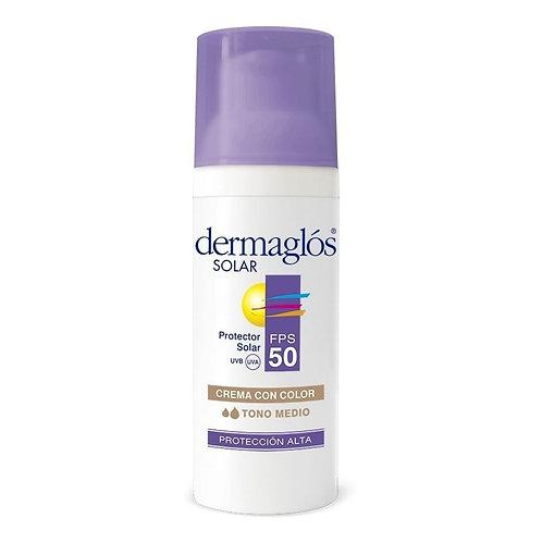 Dermaglos Solar Protector Solar Facial x50gr F50 con Color Tono Medio
