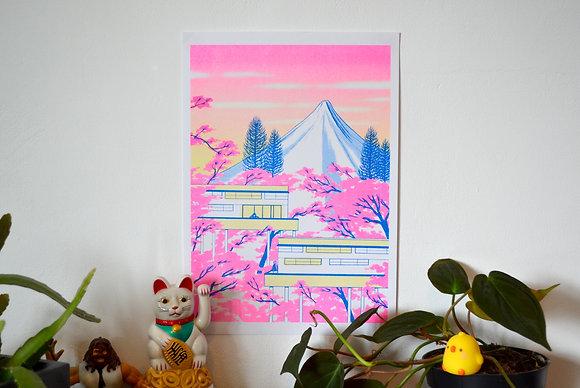 """Fuji"" A4 Risograph print"