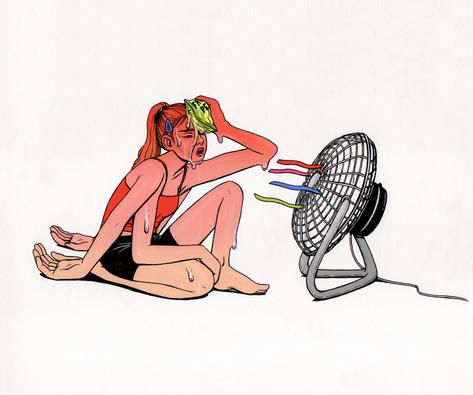 fineliner on sketchbook, digital colour. 2019