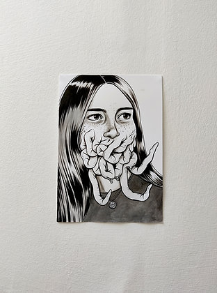 """Amber"" original ink drawing"