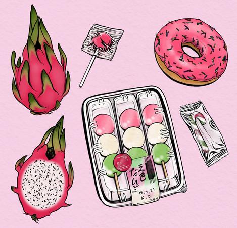 Pink & green foods