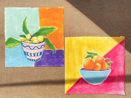 Pair of Pastel Fruit