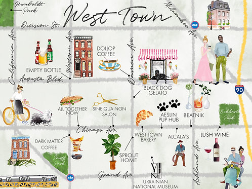 Map of West Town, Chicago