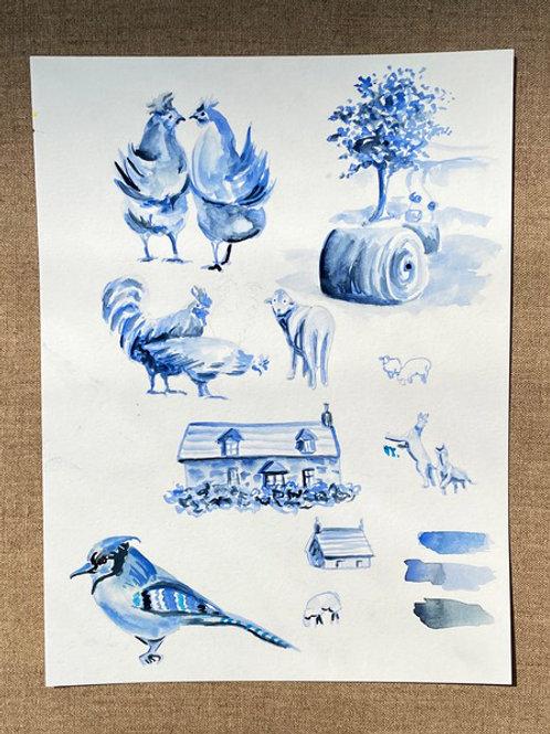 Blue Toile