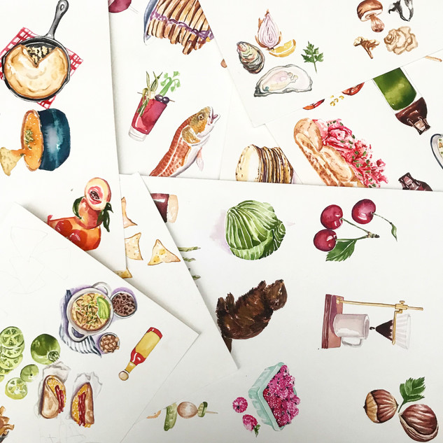 """Illustrations for """"The Little Local Cookbook"""" series in collaboration with Swiss Cottage Designs"""
