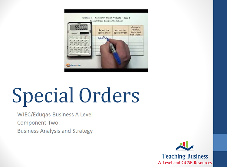 Eduqas PowerPoint Special Order Decisions