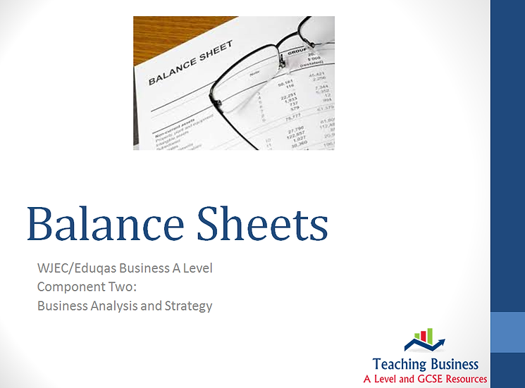 Eduqas PowerPoint Balance Sheets