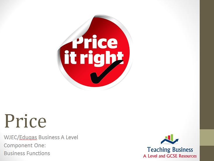Eduqas PowerPoint The Marketing Mix: Price