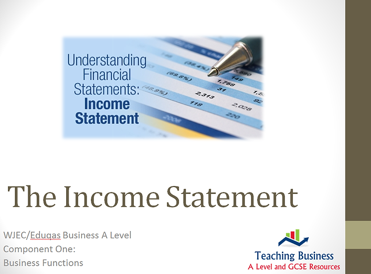Eduqas PowerPoint The Income Statement