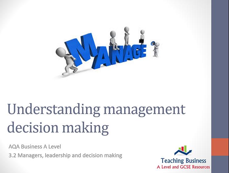 AQA Business - Understanding Management Decision Making