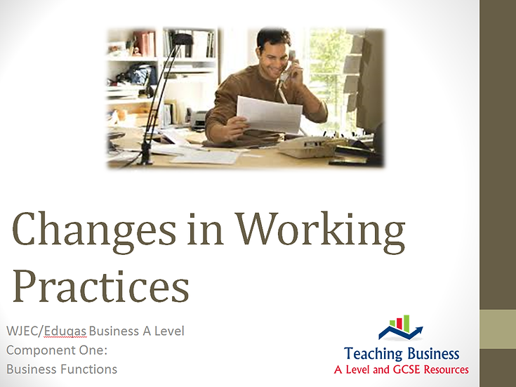 Eduqas PowerPoint Changes in Working Practices