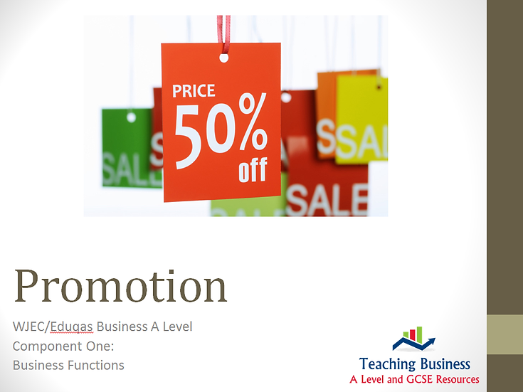 Edquas PowerPoint The Marketing Mix: Promotion