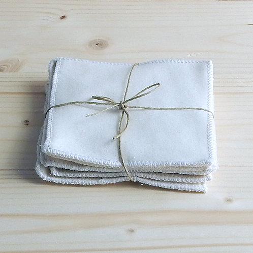 Carrés démaquillant/bébé lavable en coton Bio (unité ou lot de 5)