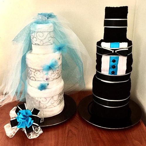 Bride & Groom Bath Towel Cakes